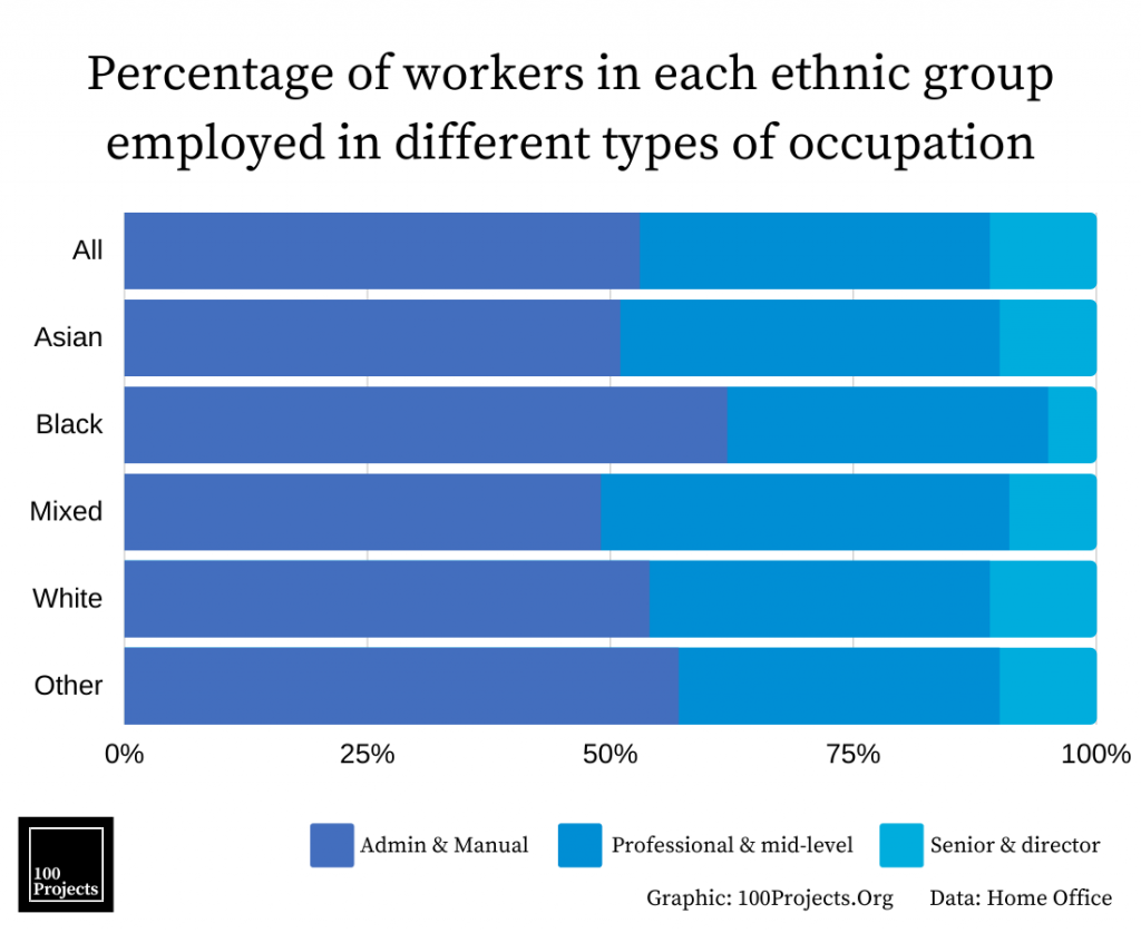 Percentage of workers in each ethnic group employed in different types of occupation