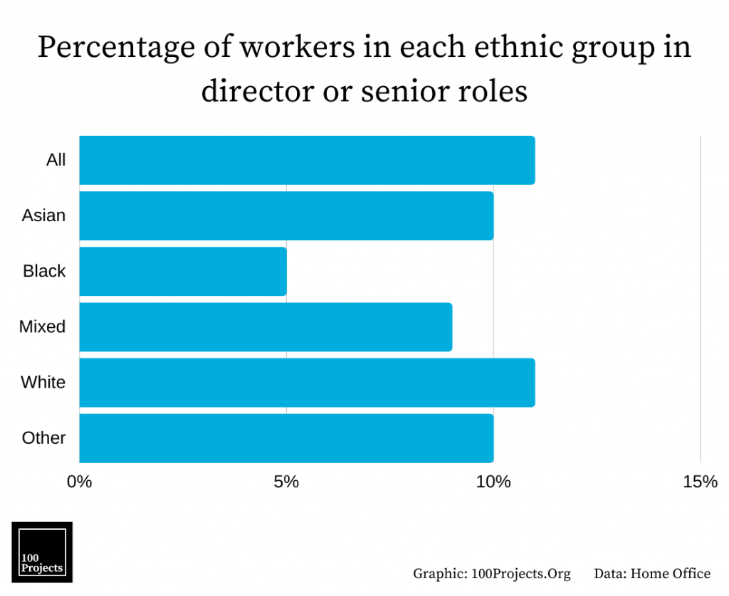 Percentage of workers in each ethnic group in director or senior roles