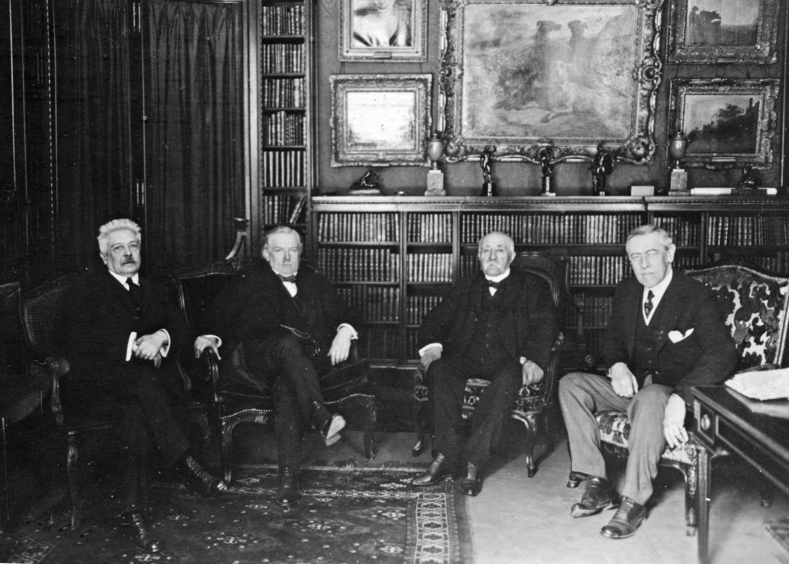 (From left to right) Italian Prime Minister Vittorio Emanuele Orlando, British Prime Minister David Lloyd George, French Premier Georges Clemenceau, and U.S. Pres. Woodrow Wilson, Paris, 1919. Encyclopædia Britannica, Inc.